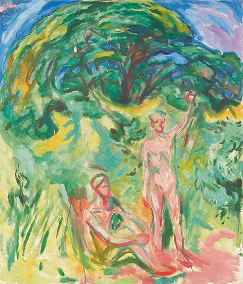 Djupa skuggor och nakna män i skogen